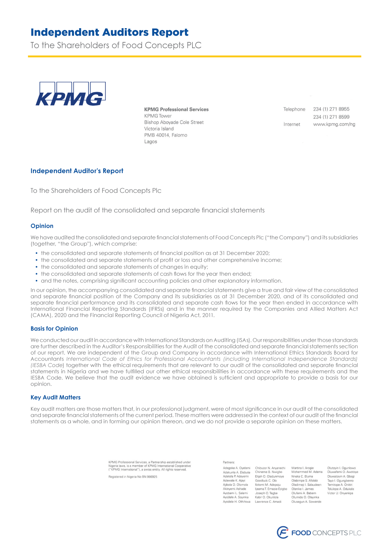 Food Concepts - Independent Auditors Report - Page 1