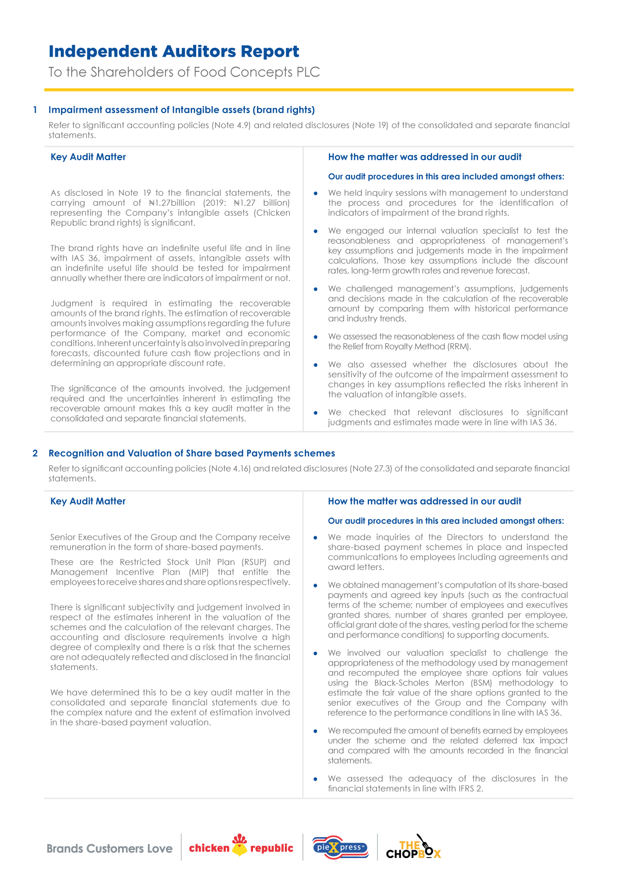 Food Concepts - Independent Auditors Report - Page 2