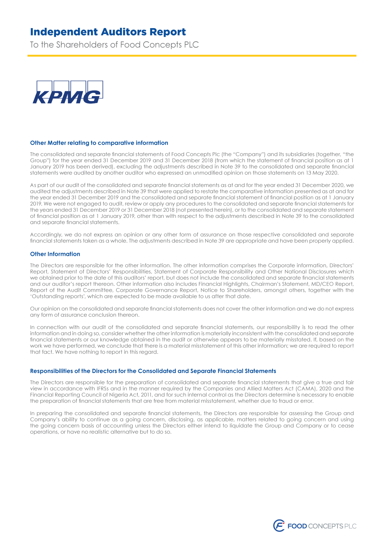 Food Concepts - Independent Auditors Report - Page 3