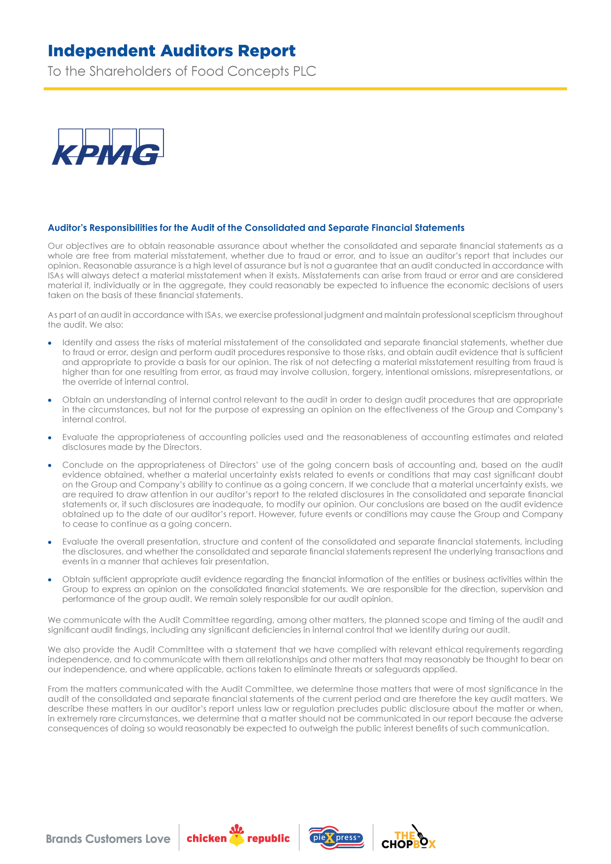 Food Concepts - Independent Auditors Report - Page 4